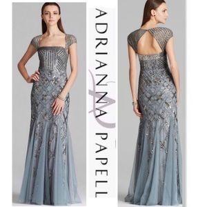Adrianna Papell Long capsleeve beaded bodice dress